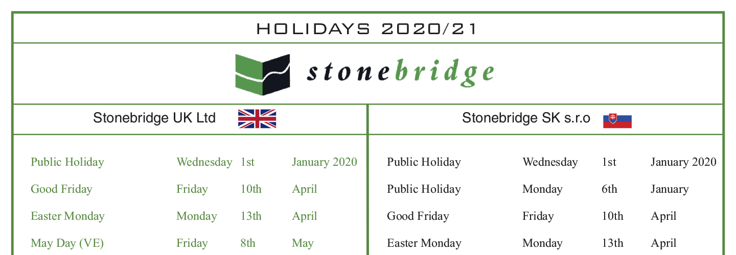 Factory Annual Holidays 2020/21 - Stonebridge SK